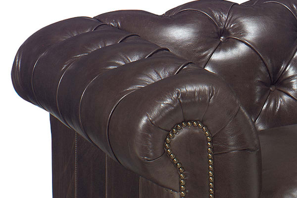 "Barrington 91 Inch ""Designer Style"" Large Leather Chesterfield Tufted Sofa"