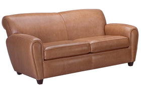 "Baxter 78 Inch ""Designer Style"" Art Deco Leather Club Couch"