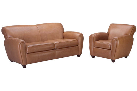 "Baxter ""Designer Style"" Leather Full Sleeper Sofa & Recliner Set"