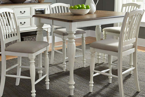 Beaufort 5 Piece White With Nutmeg Top Gathering Square Leg Dining Table Set With Slat Back Chairs