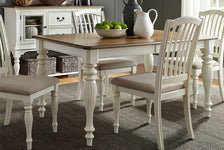 Beaufort 5 Piece White With Nutmeg Top Leg Dining Table Set With Slat Back Chairs