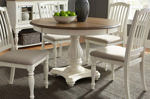 Beaufort 5 Piece White With Nutmeg Top Round Oval Pedestal Dining Table Set With Slat Back Chairs