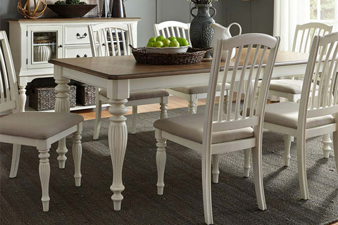 Beaufort 7 Piece White With Nutmeg Top Leg Dining Table Set With Slat Back Chairs