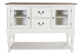 Beaufort Farmhouse Style White With Nutmeg Top Glass Door Storage Buffet