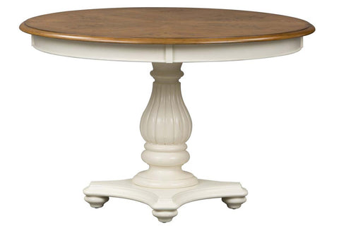Beaufort 7 Piece White With Nutmeg Top Round Oval Pedestal Dining Table Set With Slat Back Chairs