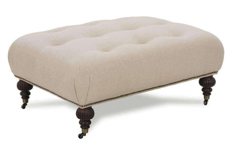Belle Fabric Tufted Ottoman Coffee Table With Caster Legs