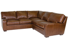 Benjamin 8-Way Hand Tied Two Piece Contemporary Leather Sectional (As Configured)