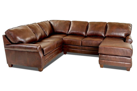 Bennington Rolled Arm Leather Sectional With Chaise Option