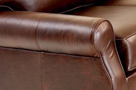 Bennington 3 Piece Leather Chaise Sectional (As Configured)