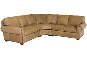 "Benson ""Designer Style"" Leather Sectional With Nailhead Trim (As Configured)"