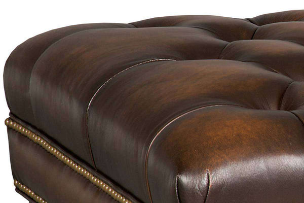 "Bentley ""Quick Ship"" Tufted Leather Coffee Table With Nail Trim - Club Furniture"