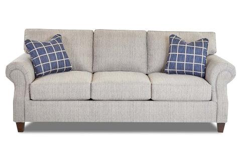 "Bernard ""Custom Value"" 92 Inch Traditional Roll Arm Three Seat Fabric Sofa"