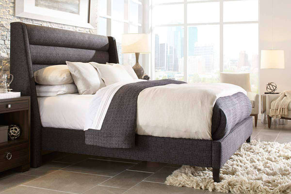 "Berwick ""Designer Style"" Contemporary Ribbed Fabric Platform Bed"