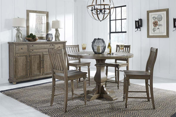 Branson I Barley Brown 5 Piece Round Gathering Table Set With Matching Slat Back Chairs