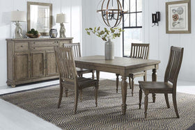Branson I Barley Brown 5 Piece Leg Table Set With Matching Slat Back Chairs