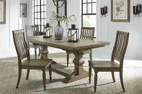 Branson I Barley Brown 5 Piece Trestle Table Set With Matching Slat Back Chairs
