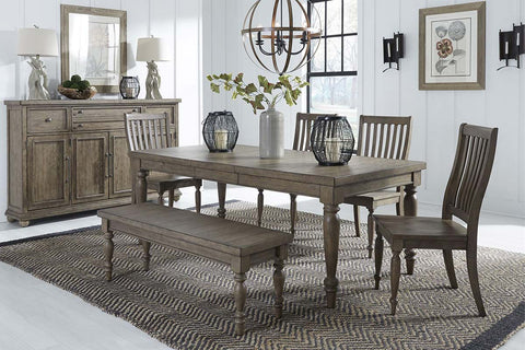 Branson I Barley Brown 6 Piece Leg Table Set With With Matching Slat Back Chairs And Bench