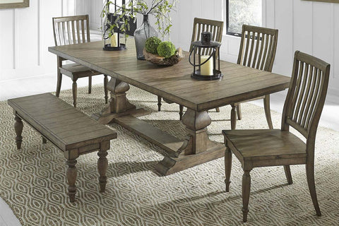 Branson I Barley Brown 6 Piece Trestle Table Set With Matching Slat Back Chairs And Bench