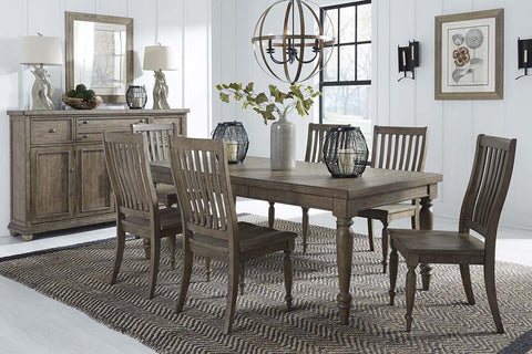 Branson I Barley Brown 7 Piece Leg Table Set With Matching Slat Back Chairs