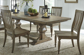 Branson I Barley Brown 7 Piece Trestle Table Set With Matching Slat Back Chairs