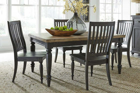 Branson II Chalkboard Black With Brown Top 5 Piece Leg Table Set With Slat Back Chairs