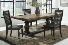 Branson II Chalkboard Black With Brown Top 5 Piece Trestle Table Set With Slat Back Chairs
