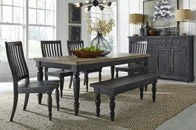 Branson II Chalkboard Black With Brown Top 6 Piece Leg Table Set With Slat Back Chairs And Bench