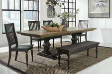Branson II Chalkboard Black With Brown Top 6 Piece Trestle Table Set With Slat Back Chairs And Bench