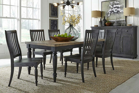 Branson II Chalkboard Black With Brown Top 7 Piece Leg Table Set With Slat Back Chairs