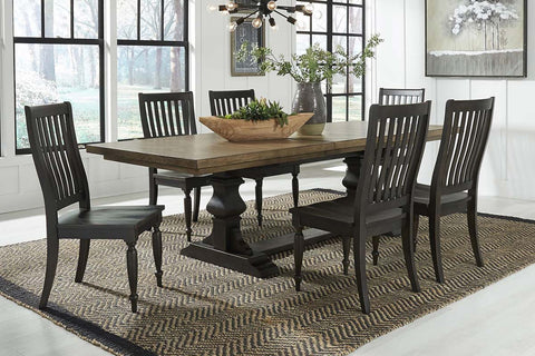 Branson II Chalkboard Black With Brown Top 7 Piece Trestle Table Set With Slat Back Chairs