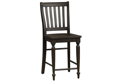 Branson II Chalkboard Black With Brown Top 5 Piece Gathering Table Set With Slat Back Chairs