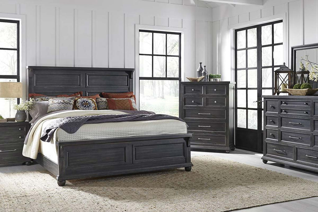 Branson Ii Farmhouse Distressed Black Bedroom Collection