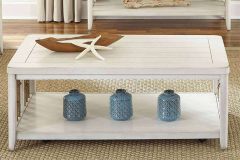 Bridgeport Nautical Beach Theme Rectangular White Coffee Table With Rope Accents And Shelf