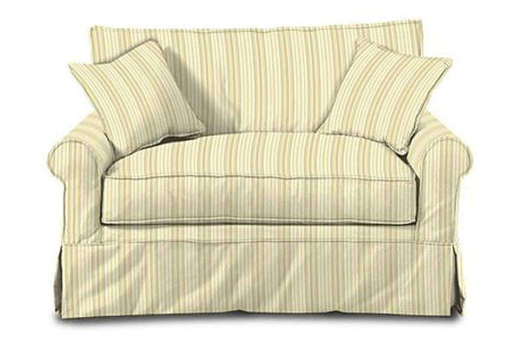 Picture of: Brigid Designer Style Slipcovered Chair And A Half Twin Sleeper Sofa Club Furniture