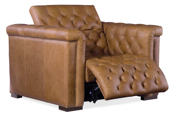 "Bromley Coin Power ""Quick Ship"" Chesterfield Leather Recliner Chair"