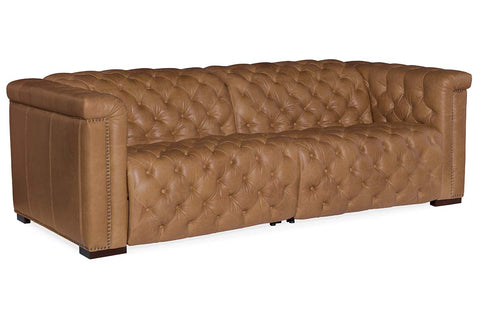 "Bromley Coin Chesterfield 88 Inch ""Quick Ship"" Wall Hugger Power Leather Reclining Sofa"
