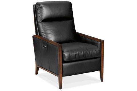 "Bruno Power ""Quick Ship"" Mid-Century Modern Black Leather Exposed Wood Recliner"