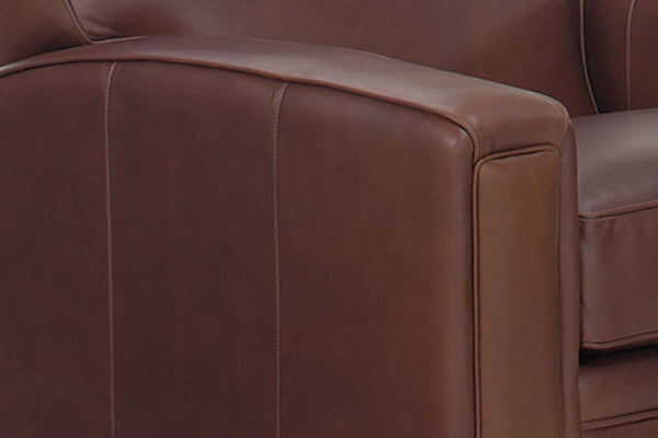 "Burton ""Designer Style"" Track Panel Arm Leather Club Chair"
