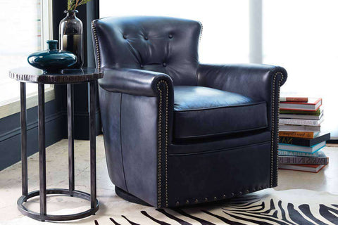 "Byrne Champion ""Quick Ship"" Leather Button Back Swivel Accent Chair - Club Furniture"