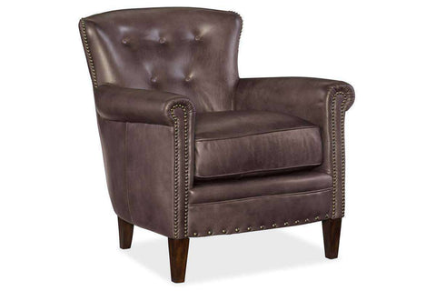"Byrne Trade ""Quick Ship"" Leather Button Back Petite Accent Chair - Club Furniture"