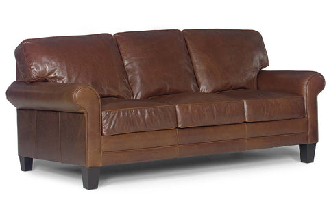 "Calvin 84 Inch ""Designer Style"" 3 Seat Golf Club Arm Leather Couch"