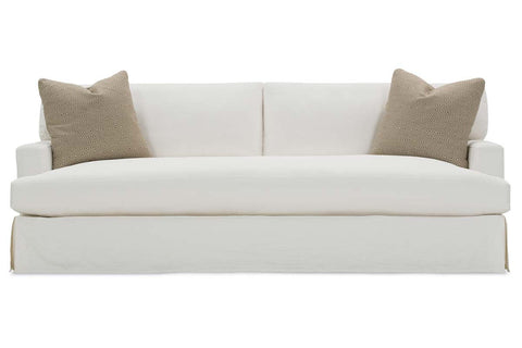 "Candice I 95 Inch ""Designer Style"" Single Bench Cushion Two Backs Fabric Slipcovered Sofa"
