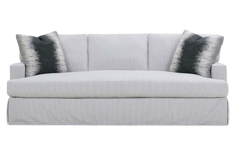 "Candice I 95 Inch ""Designer Style"" Single Bench Cushion Three Backs Fabric Slipcovered Sofa"