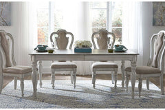 Canterbury 5 Piece Antique White Double Leaf Leg Table Dining Set