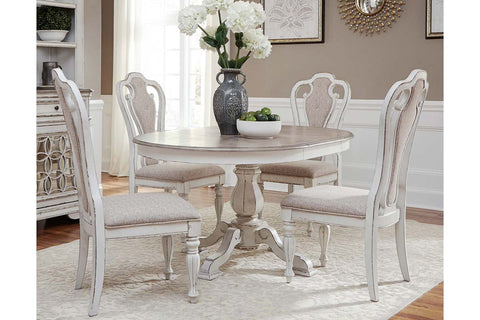 Canterbury 5 Piece Antique White Single Leaf Pedestal Table Dining Set