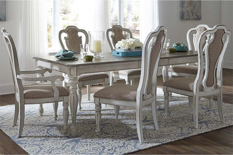 Canterbury 7 Piece Antique White Single Leaf Leg Table Dining Set