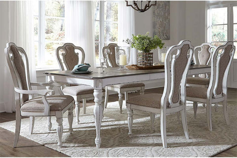 Canterbury 7 Piece Antique White Double Leaf Leg Table Dining Set