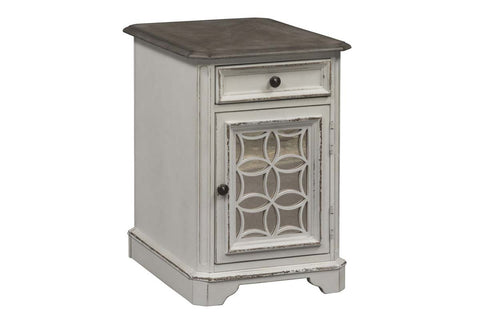 Canterbury Antique White Chair Side Table With Single Drawer And Door Storage