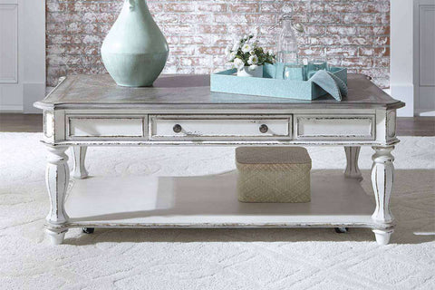 Canterbury Large Distressed Antique White Single Drawer Coffee Table With Shelf