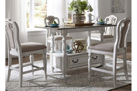 Canterbury 5 Piece Antique White Counter Height Gathering Table Dining Set